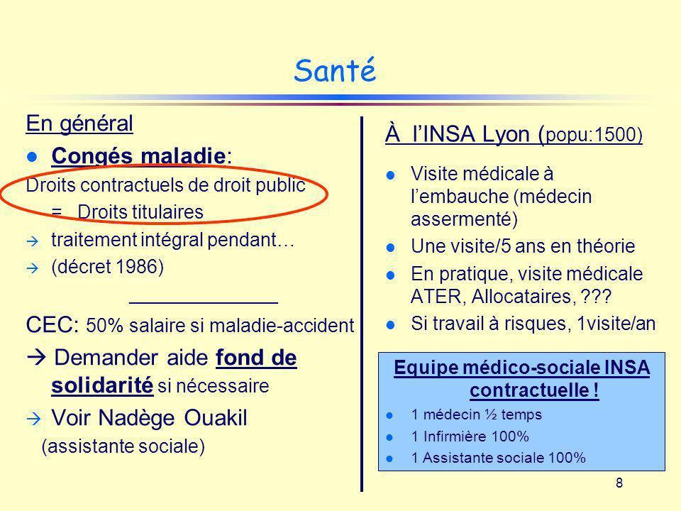 8 Santé En général l Congés maladie: Droits contractuels de droit public = Droits titulaires traitement intégral pendant… (décret 1986) ______________