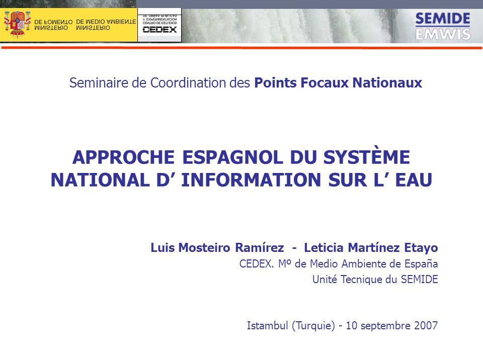 SI AGUA APPROCHE ESPAGNOL DU SYSTÈME NATIONAL D INFORMATION SUR L EAU Seminaire de Coordination des Points Focaux Nationaux Luis Mosteiro Ramírez - Le
