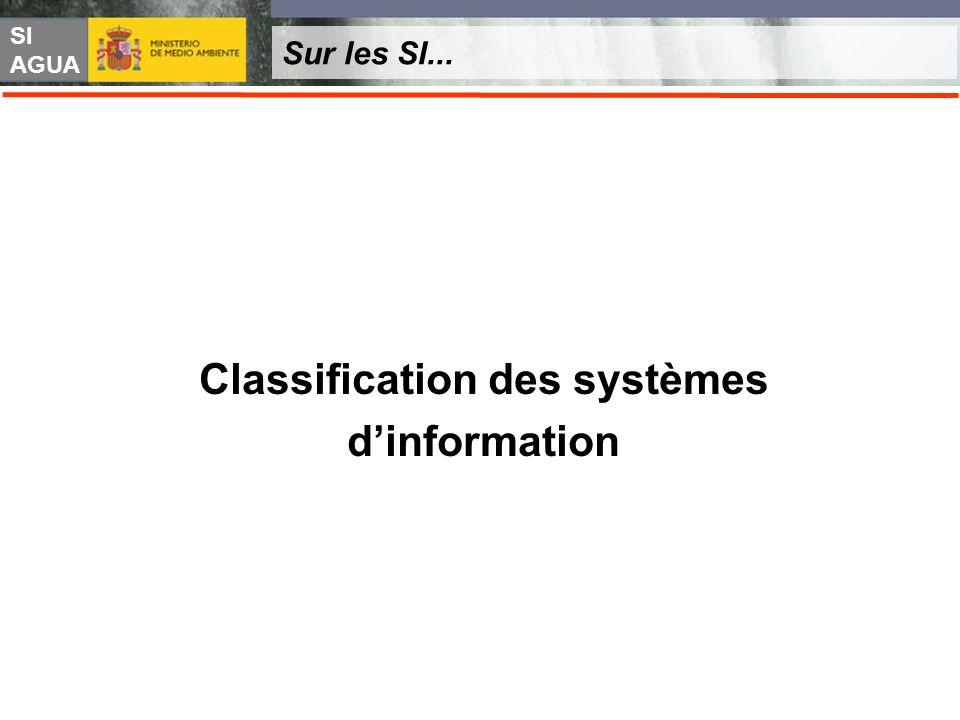 SI AGUA Sur les SI... Classification des systèmes dinformation