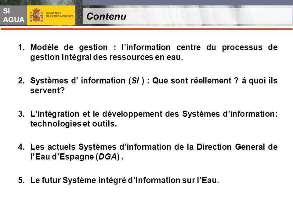 SI AGUA Contenu 1.Modèle de gestion : linformation centre du processus de gestion intégral des ressources en eau. 2.Systèmes d information (SI ) : Que