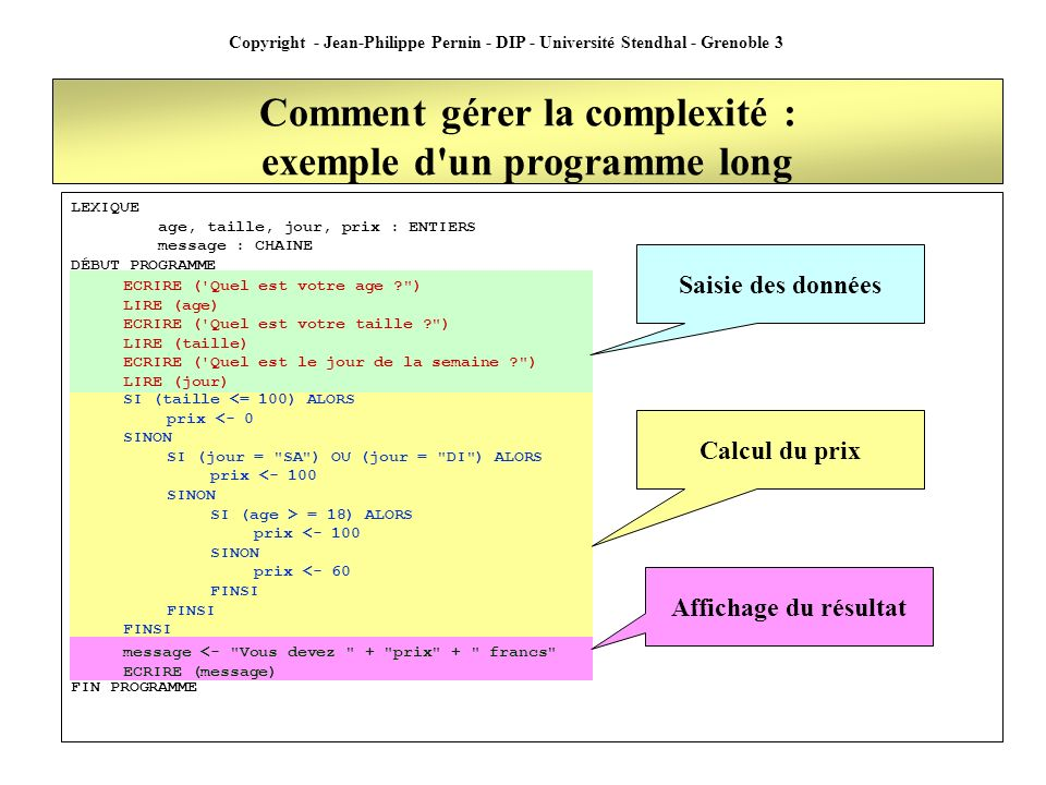 Copyright - Jean-Philippe Pernin - DIP - Université Stendhal - Grenoble 3 Comment gérer la complexité : exemple d'un programme long LEXIQUE age, taill