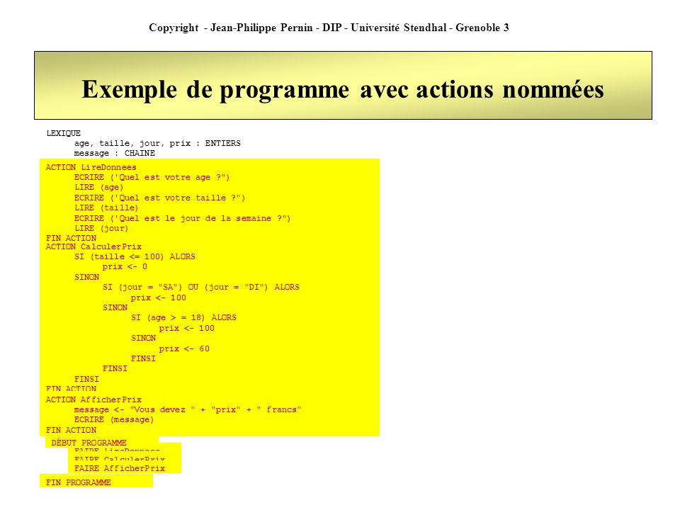 Copyright - Jean-Philippe Pernin - DIP - Université Stendhal - Grenoble 3 Exemple de programme avec actions nommées LEXIQUE age, taille, jour, prix :