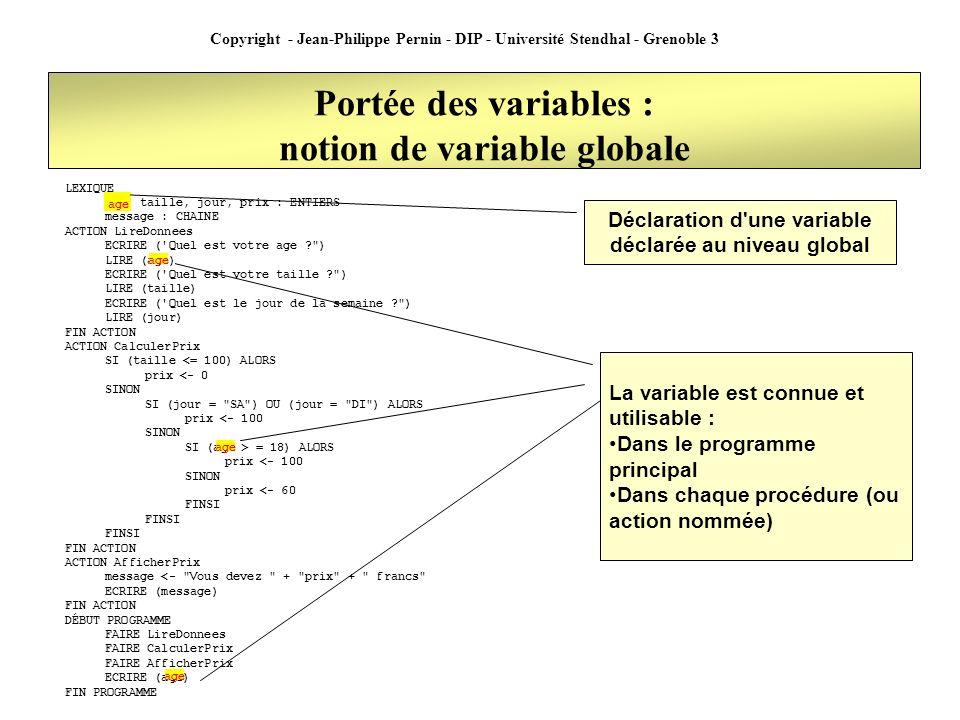 Copyright - Jean-Philippe Pernin - DIP - Université Stendhal - Grenoble 3 Portée des variables : notion de variable locale LEXIQUE message : CHAINE ACTION LireDonnees LEXIQUE prenom, nom : CHAINE ECRIRE ( Quel est votre nom ? ) LIRE (nom) ECRIRE ( Quel est votre prenom ? ) LIRE (prenom) ECRIRE (nom) FIN ACTION ACTION AfficherIdentité message <- Vous vous appelez + prenom + + nom ECRIRE (message) FIN ACTION DÉBUT PROGRAMME FAIRE LireDonnees FAIRE AfficherIdentité ECRIRE (nom) FIN PROGRAMME Déclaration d une variable au sein d une procédure La variable est connue et utilisable au sein de la procédure ou elle a été déclarée nom La variable n est pas utilisable dans le programme principal ou dans une autre procédure
