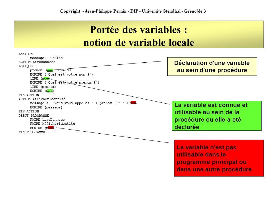 Copyright - Jean-Philippe Pernin - DIP - Université Stendhal - Grenoble 3 Portée des variables : notion de variable locale LEXIQUE message : CHAINE AC