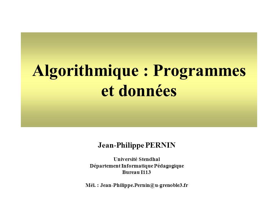 12 Copyright - Jean-Philippe Pernin - DIP - Université Stendhal - Grenoble 3 Déclaration de constantes en Javascript // Déclaration des constantes Pi = 3.14; // valeur de la constante Pi NbDeRoues = 4; // nombre de roues Nom de la constante Ni blanc, ni caractères spéciaux (é,è,à,...) Sensible au majuscules (case-sensitive) Valeur de la constante Pi = 3.14 ; Symbole = Symbole ; termine chaque déclaration