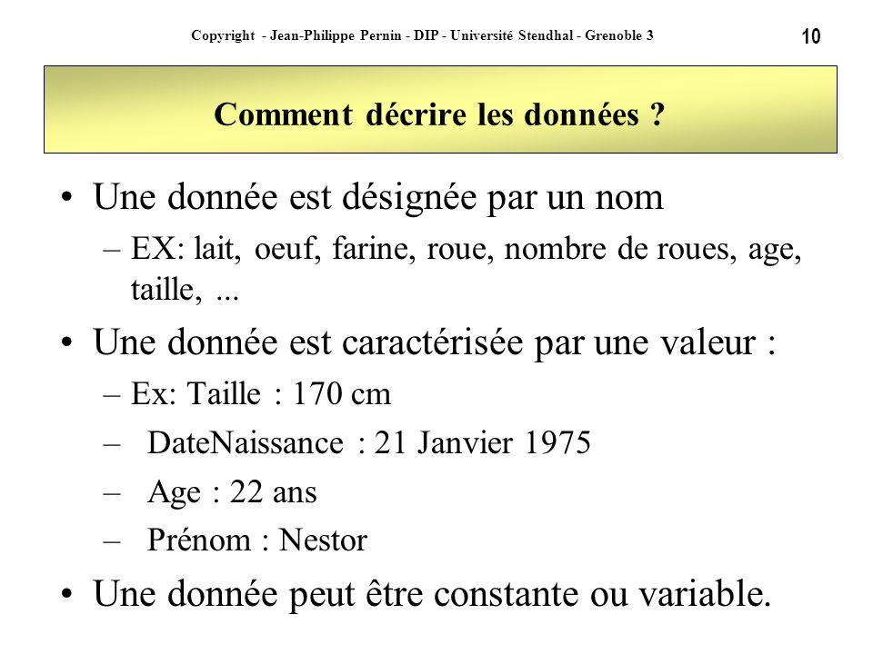 10 Copyright - Jean-Philippe Pernin - DIP - Université Stendhal - Grenoble 3 Comment décrire les données ? Une donnée est désignée par un nom –EX: lai