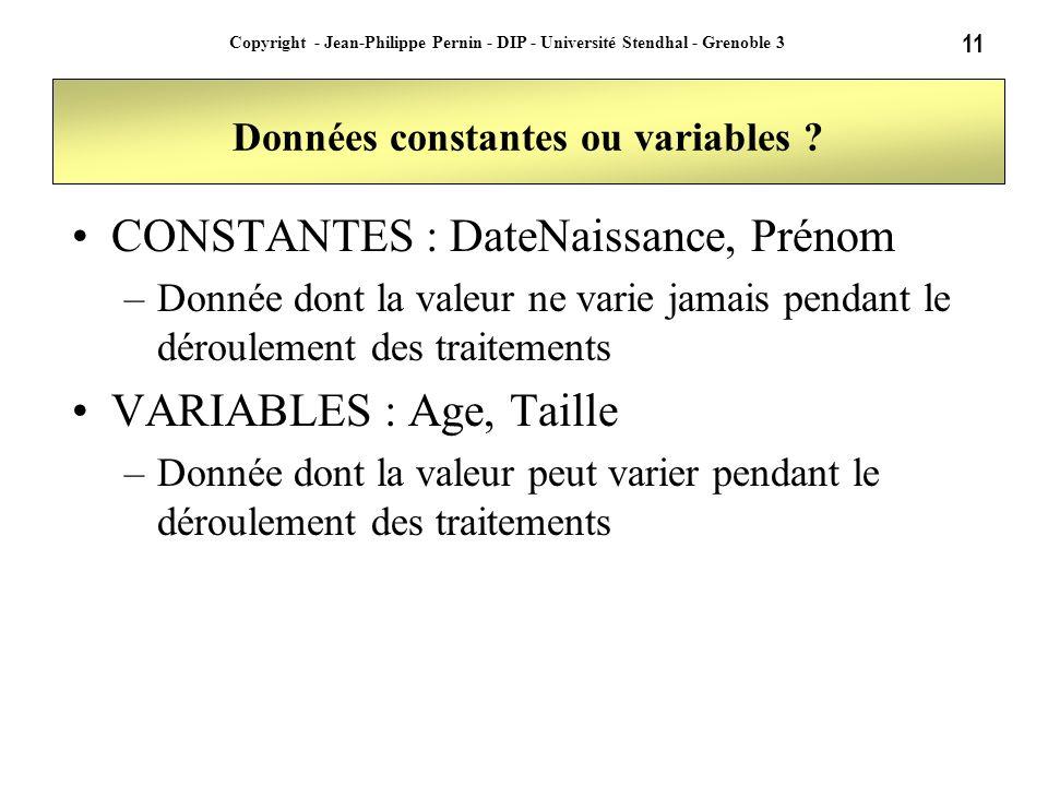 11 Copyright - Jean-Philippe Pernin - DIP - Université Stendhal - Grenoble 3 Données constantes ou variables ? CONSTANTES : DateNaissance, Prénom –Don