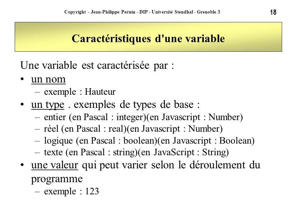 18 Copyright - Jean-Philippe Pernin - DIP - Université Stendhal - Grenoble 3 Caractéristiques d'une variable Une variable est caractérisée par : un no