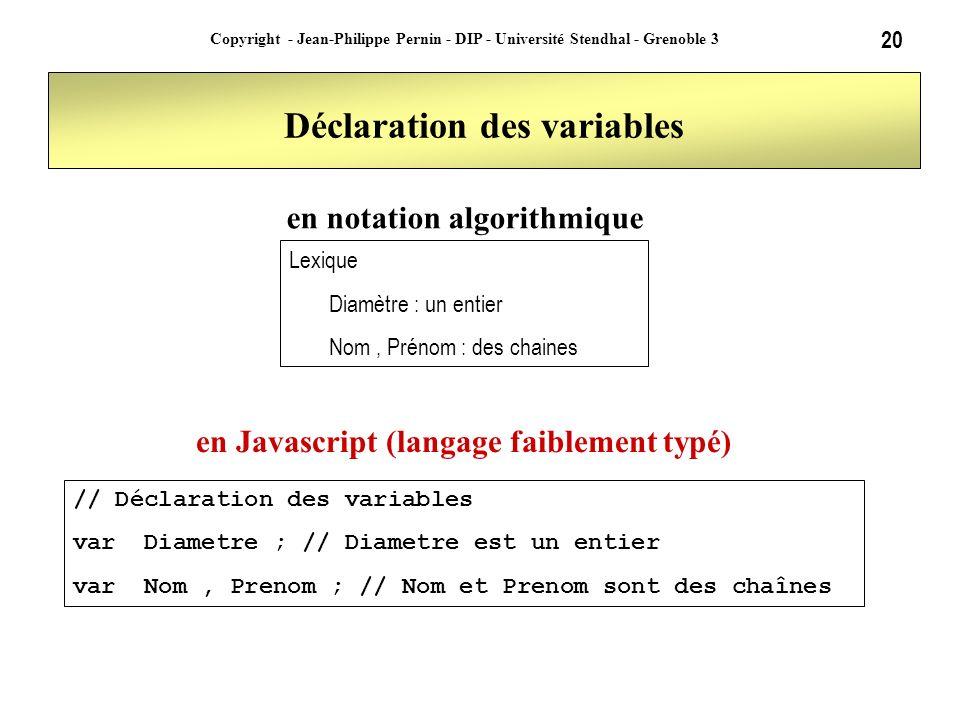 20 Copyright - Jean-Philippe Pernin - DIP - Université Stendhal - Grenoble 3 Déclaration des variables // Déclaration des variables var Diametre ; //
