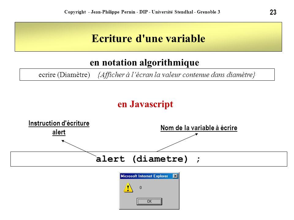 23 Copyright - Jean-Philippe Pernin - DIP - Université Stendhal - Grenoble 3 Ecriture d'une variable alert (diametre) ; ecrire (Diamètre){Afficher à l