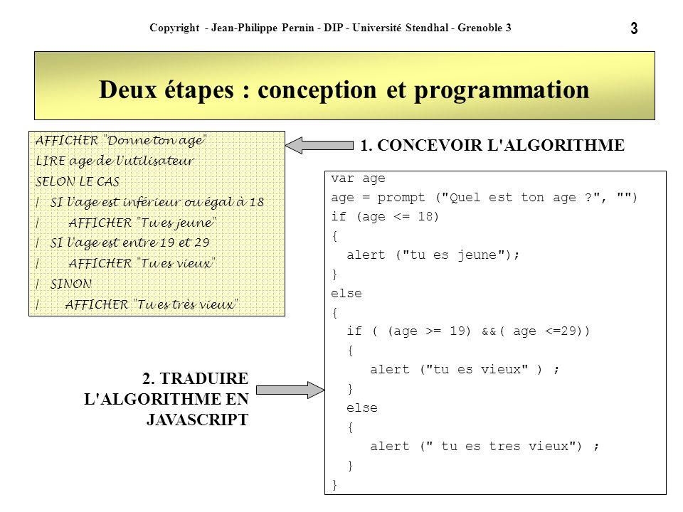 3 Copyright - Jean-Philippe Pernin - DIP - Université Stendhal - Grenoble 3 Deux étapes : conception et programmation AFFICHER