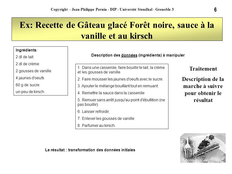 6 Copyright - Jean-Philippe Pernin - DIP - Université Stendhal - Grenoble 3 Ex: Recette de Gâteau glacé Forêt noire, sauce à la vanille et au kirsch 1