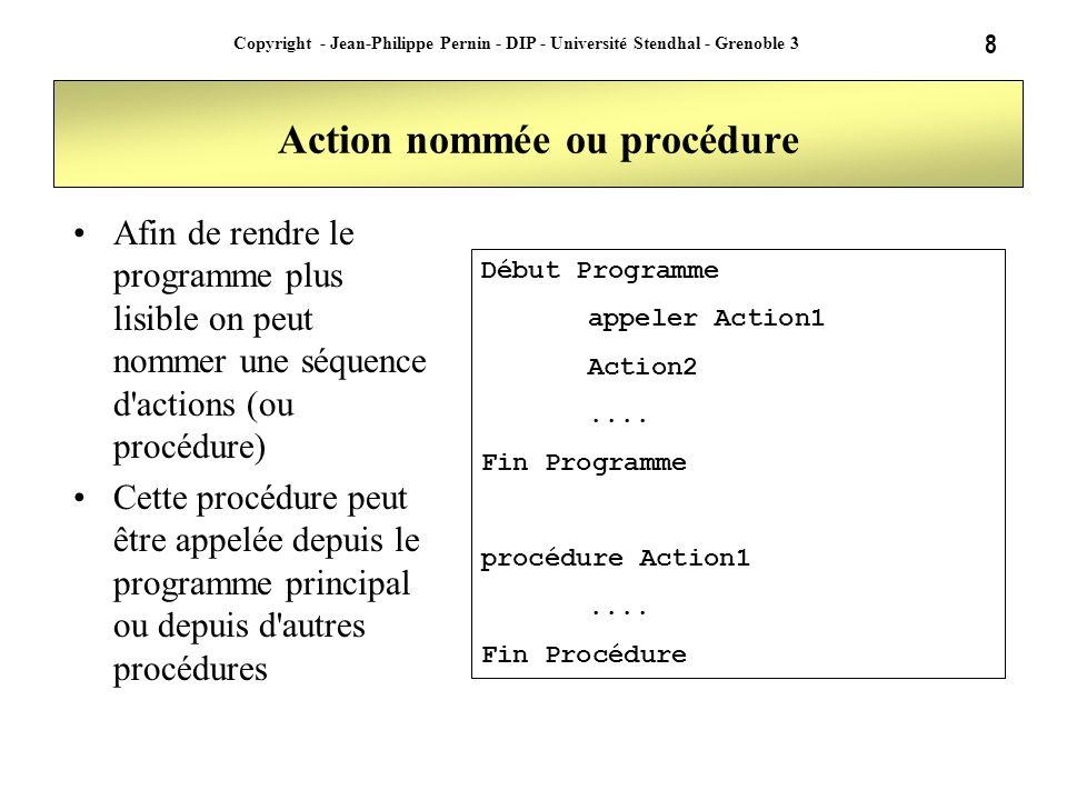 8 Copyright - Jean-Philippe Pernin - DIP - Université Stendhal - Grenoble 3 Action nommée ou procédure Afin de rendre le programme plus lisible on peu