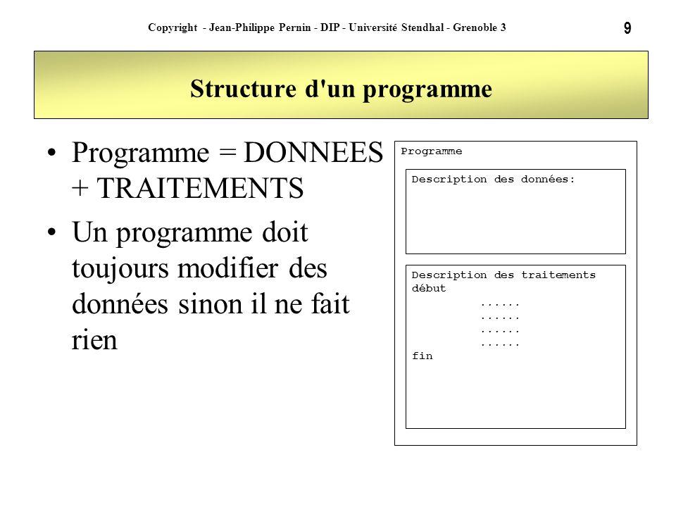 9 Copyright - Jean-Philippe Pernin - DIP - Université Stendhal - Grenoble 3 Structure d'un programme Programme = DONNEES + TRAITEMENTS Un programme do