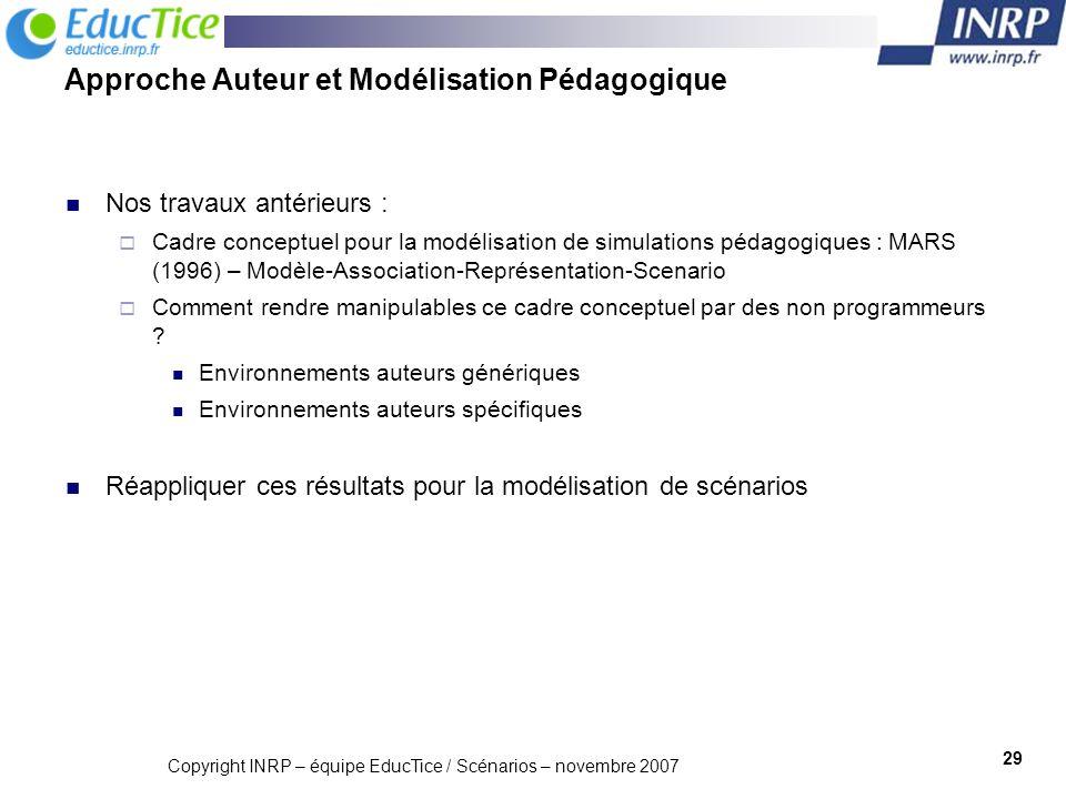 Copyright INRP – équipe EducTice / Scénarios – novembre 2007 30 Quelles Stratégies pour les Outils-Auteur .