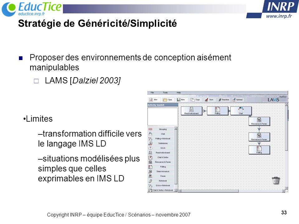 Copyright INRP – équipe EducTice / Scénarios – novembre 2007 34 Stratégie de Rentabilisation Professionnelle fournir des outils de conception s intégrant aisément aux pratiques dune communauté MOT+ [Paquette et al.