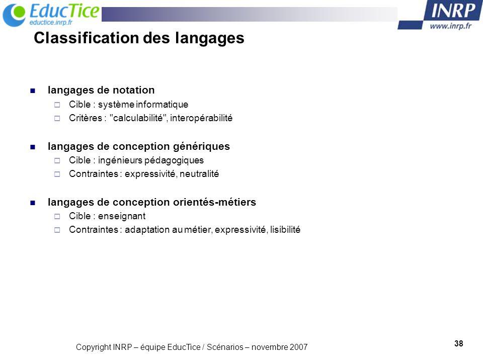 Copyright INRP – équipe EducTice / Scénarios – novembre 2007 39 Pour aller plus loin sur IMS LD : Lejeune A.