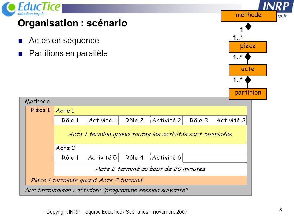 Copyright INRP – équipe EducTice / Scénarios – novembre 2007 9 Fin dun acte = point de synchronisation par défaut Utiliser les activités structurées permet de : Proposer à un rôle une séquence ou une sélection dactivités à exécuter dans le même acte Définir plus finement la synchronisation A1A2 Rôle 1Rôle 2 Acte X Acte Y Rôle 1 A1A2 AS A1A3 Rôle 1Rôle 2 A2 AS Eléments de contrôle dun scénario