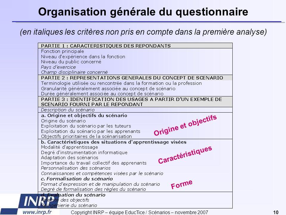 Copyright INRP – équipe EducTice / Scénarios – novembre 200710 Organisation générale du questionnaire (en italiques les critères non pris en compte da