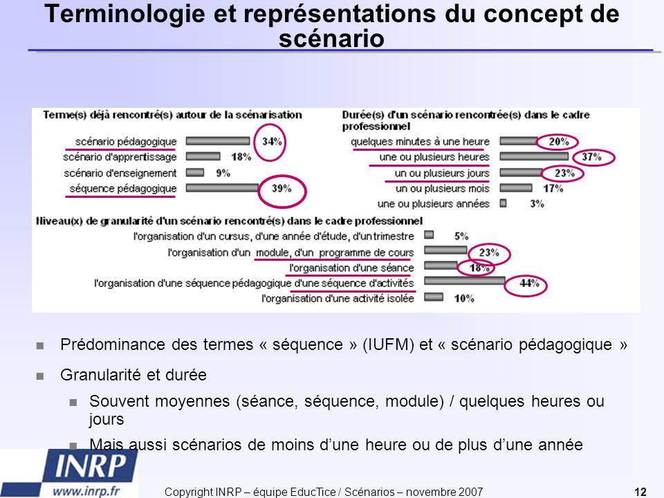 Copyright INRP – équipe EducTice / Scénarios – novembre 200712 Terminologie et représentations du concept de scénario Prédominance des termes « séquen
