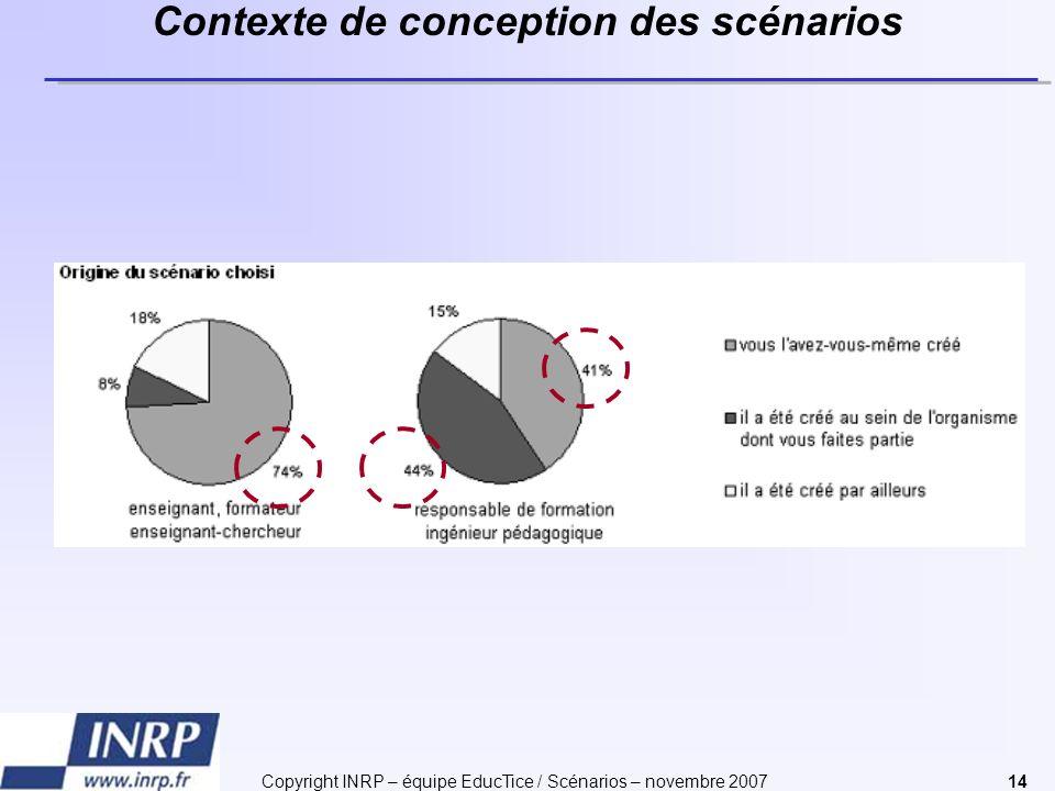 Copyright INRP – équipe EducTice / Scénarios – novembre 200714 Contexte de conception des scénarios