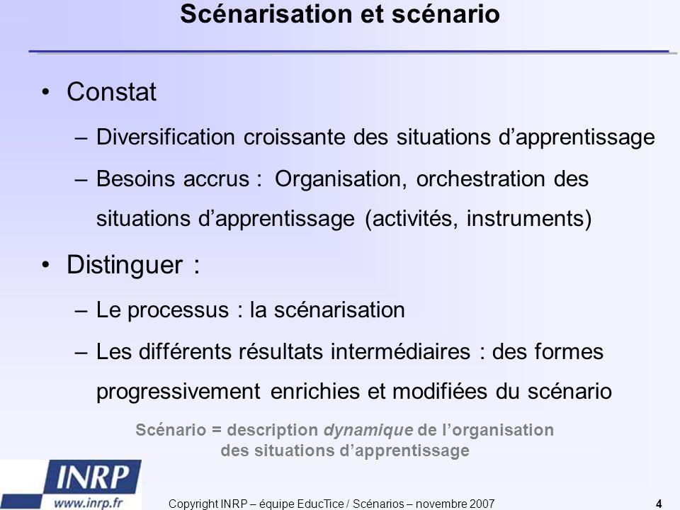 Copyright INRP – équipe EducTice / Scénarios – novembre 20074 Scénarisation et scénario Constat –Diversification croissante des situations dapprentiss
