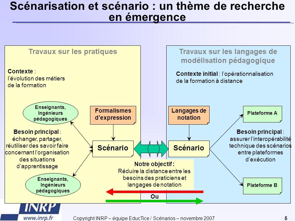 Copyright INRP – équipe EducTice / Scénarios – novembre 20075 Scénarisation et scénario : un thème de recherche en émergence Travaux sur les langages
