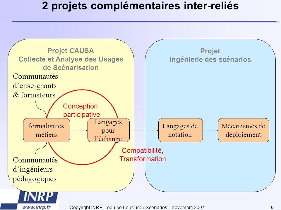 Copyright INRP – équipe EducTice / Scénarios – novembre 20076 Projet Ingénierie des scénarios Projet CAUSA Collecte et Analyse des Usages de Scénarisa
