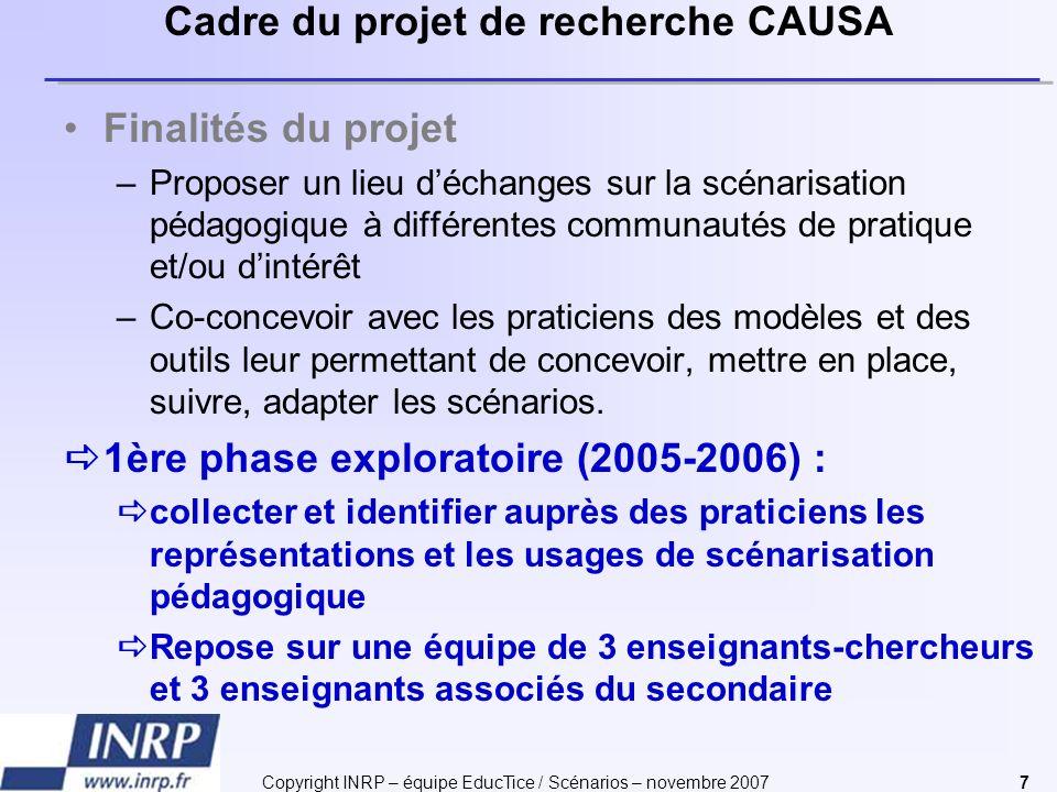 Copyright INRP – équipe EducTice / Scénarios – novembre 20077 Cadre du projet de recherche CAUSA Finalités du projet –Proposer un lieu déchanges sur l