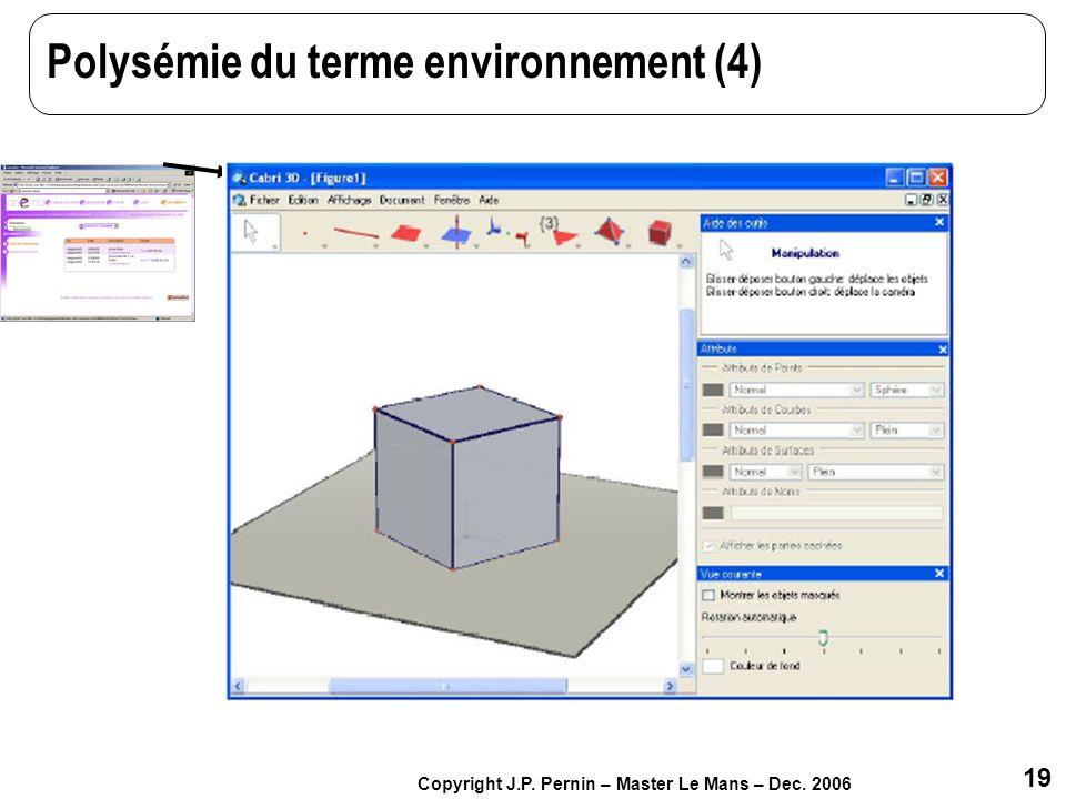 19 Copyright J.P. Pernin – Master Le Mans – Dec. 2006 Polysémie du terme environnement (4)