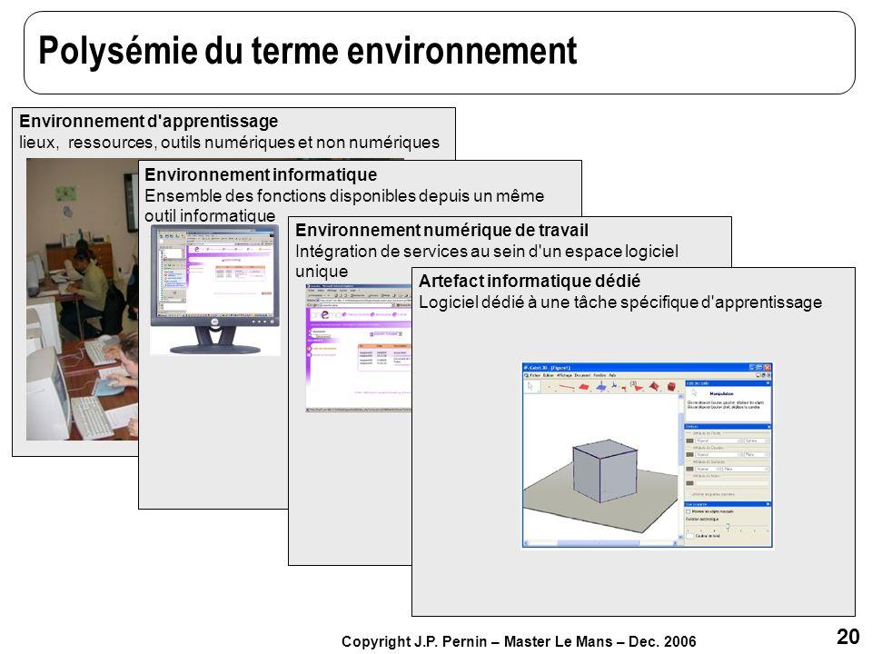 20 Copyright J.P. Pernin – Master Le Mans – Dec. 2006 Polysémie du terme environnement Environnement d'apprentissage lieux, ressources, outils numériq