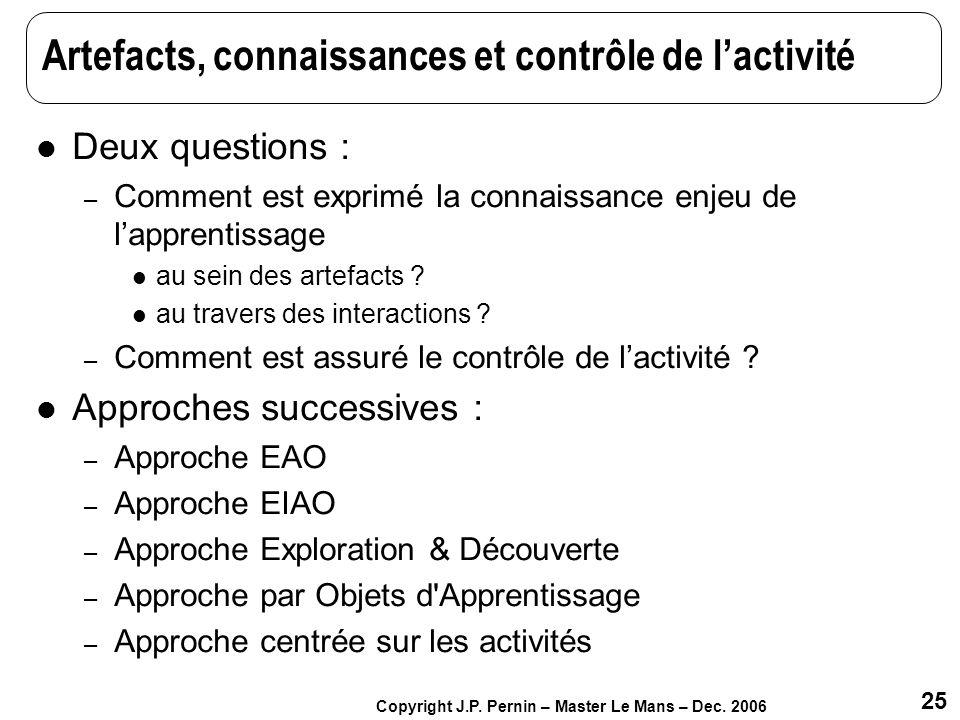 25 Copyright J.P. Pernin – Master Le Mans – Dec. 2006 Artefacts, connaissances et contrôle de lactivité Deux questions : – Comment est exprimé la conn