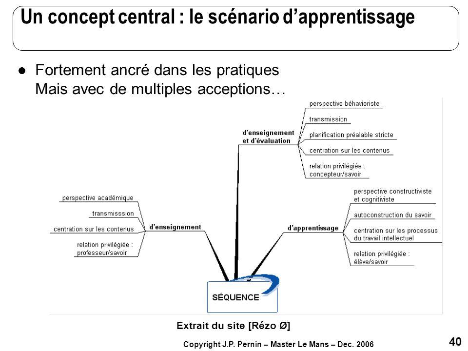 40 Copyright J.P. Pernin – Master Le Mans – Dec. 2006 Un concept central : le scénario dapprentissage Fortement ancré dans les pratiques Mais avec de
