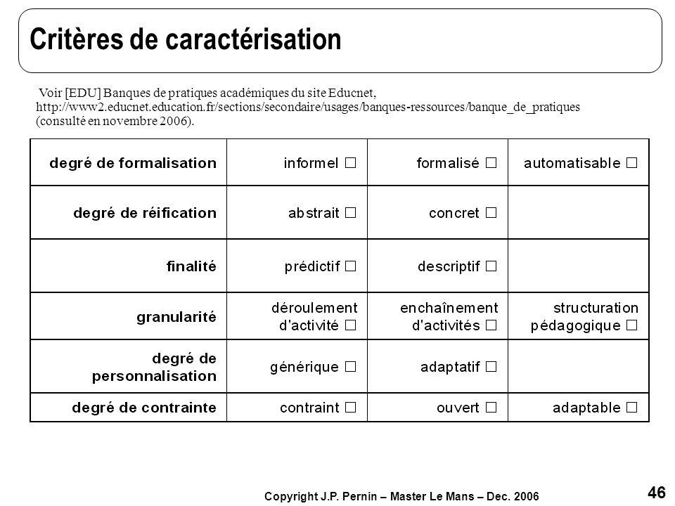 46 Copyright J.P. Pernin – Master Le Mans – Dec. 2006 Critères de caractérisation Voir [EDU] Banques de pratiques académiques du site Educnet, http://