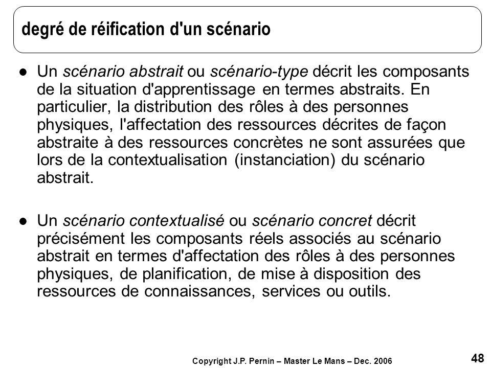48 Copyright J.P. Pernin – Master Le Mans – Dec. 2006 degré de réification d'un scénario Un scénario abstrait ou scénario-type décrit les composants d