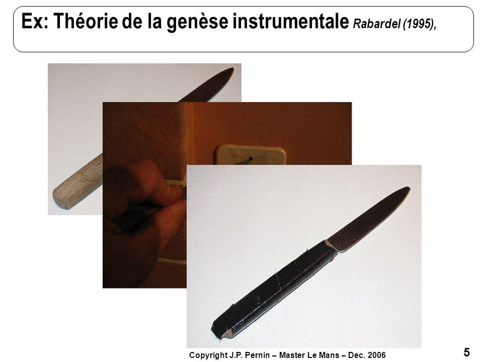 5 Copyright J.P. Pernin – Master Le Mans – Dec. 2006 Ex: Théorie de la genèse instrumentale Rabardel (1995),