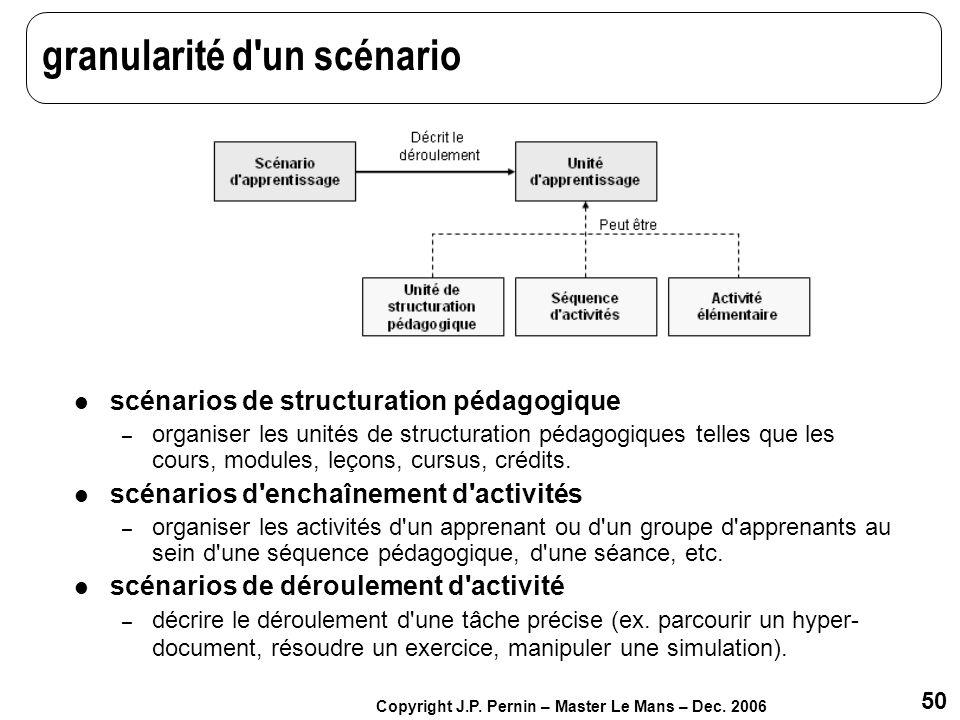 50 Copyright J.P. Pernin – Master Le Mans – Dec. 2006 granularité d'un scénario scénarios de structuration pédagogique – organiser les unités de struc
