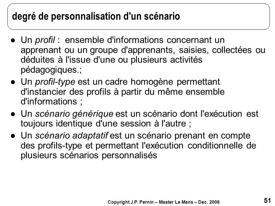 51 Copyright J.P. Pernin – Master Le Mans – Dec. 2006 degré de personnalisation d'un scénario Un profil : ensemble d'informations concernant un appren