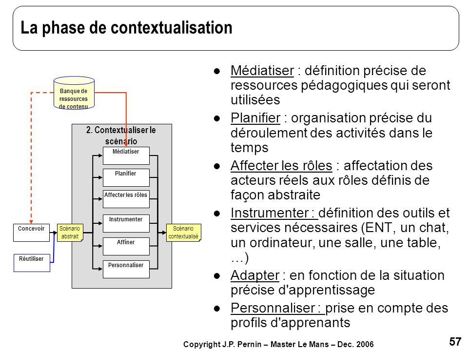 57 Copyright J.P. Pernin – Master Le Mans – Dec. 2006 La phase de contextualisation Médiatiser : définition précise de ressources pédagogiques qui ser