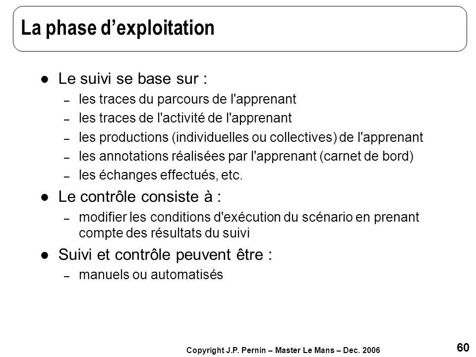 60 Copyright J.P. Pernin – Master Le Mans – Dec. 2006 La phase dexploitation Le suivi se base sur : – les traces du parcours de l'apprenant – les trac
