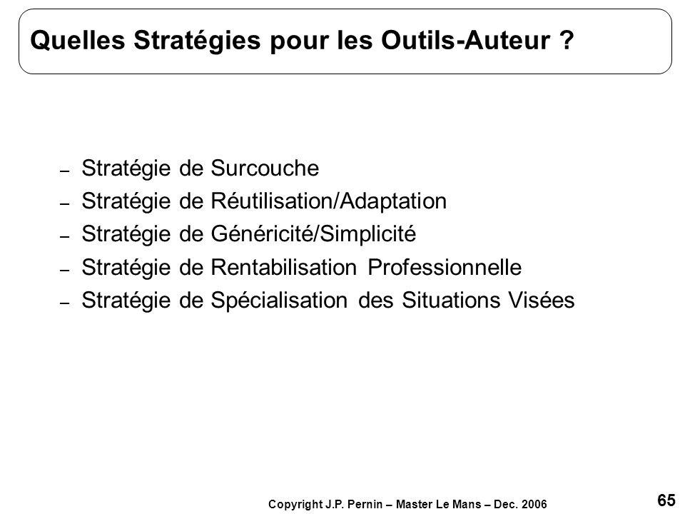 65 Copyright J.P. Pernin – Master Le Mans – Dec. 2006 Quelles Stratégies pour les Outils-Auteur ? – Stratégie de Surcouche – Stratégie de Réutilisatio