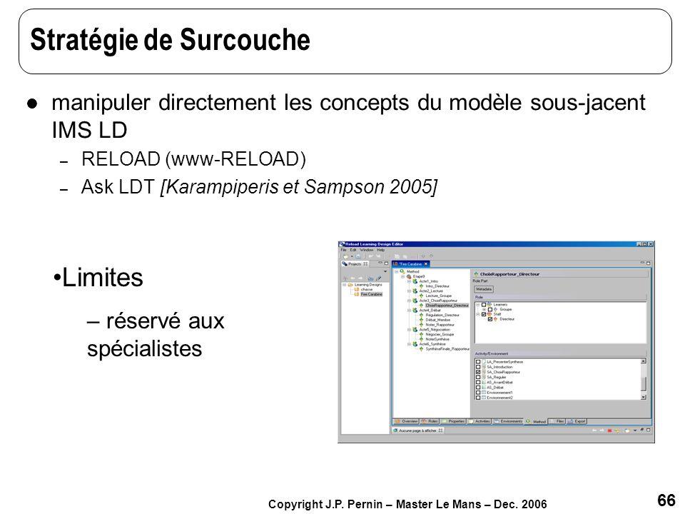 66 Copyright J.P. Pernin – Master Le Mans – Dec. 2006 Stratégie de Surcouche manipuler directement les concepts du modèle sous-jacent IMS LD – RELOAD