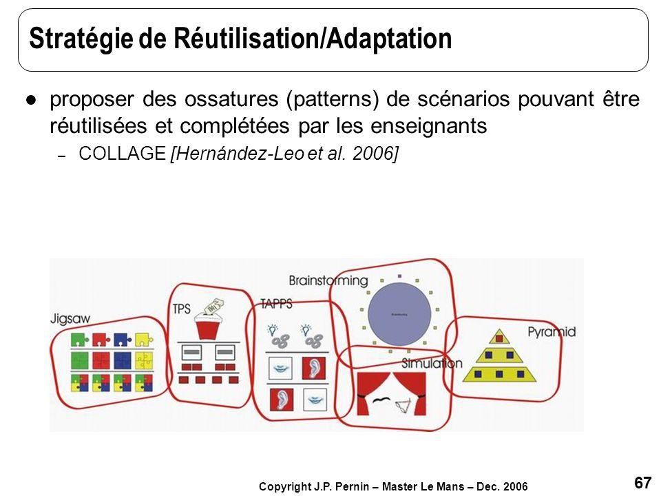 67 Copyright J.P. Pernin – Master Le Mans – Dec. 2006 Stratégie de Réutilisation/Adaptation proposer des ossatures (patterns) de scénarios pouvant êtr