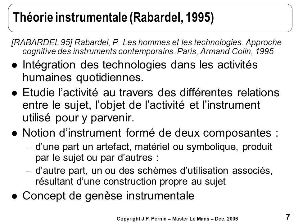 7 Copyright J.P. Pernin – Master Le Mans – Dec. 2006 Théorie instrumentale (Rabardel, 1995) [RABARDEL 95] Rabardel, P. Les hommes et les technologies.