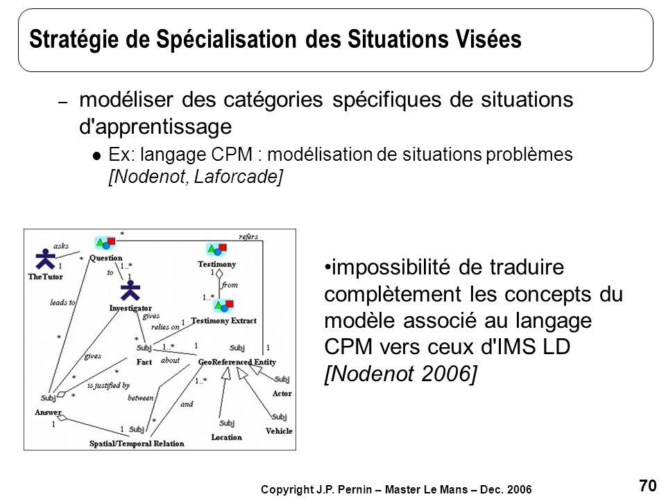 70 Copyright J.P. Pernin – Master Le Mans – Dec. 2006 Stratégie de Spécialisation des Situations Visées – modéliser des catégories spécifiques de situ