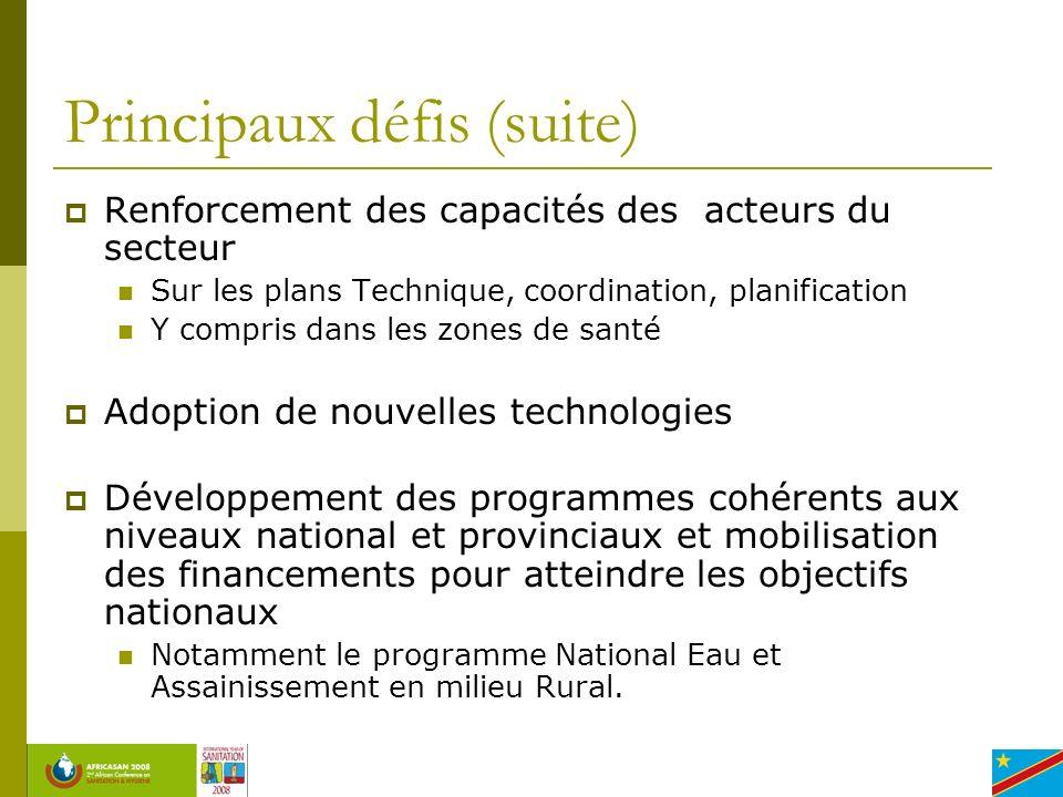 Principaux défis (suite) Renforcement des capacités des acteurs du secteur Sur les plans Technique, coordination, planification Y compris dans les zon