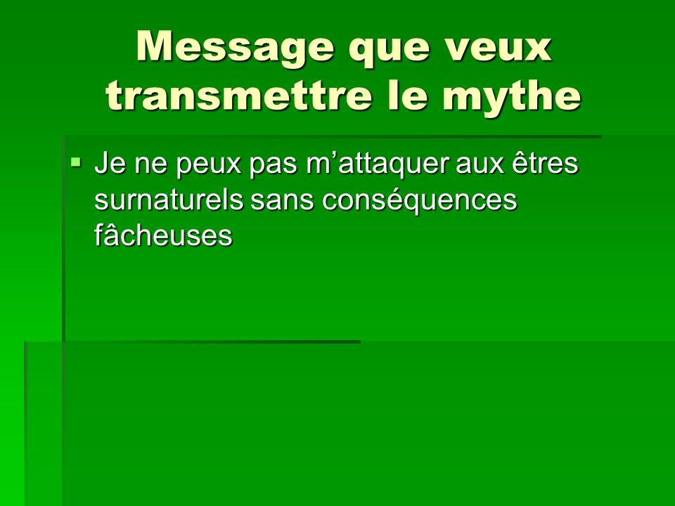 Message que veux transmettre le mythe Je ne peux pas mattaquer aux êtres surnaturels sans conséquences fâcheuses Je ne peux pas mattaquer aux êtres su