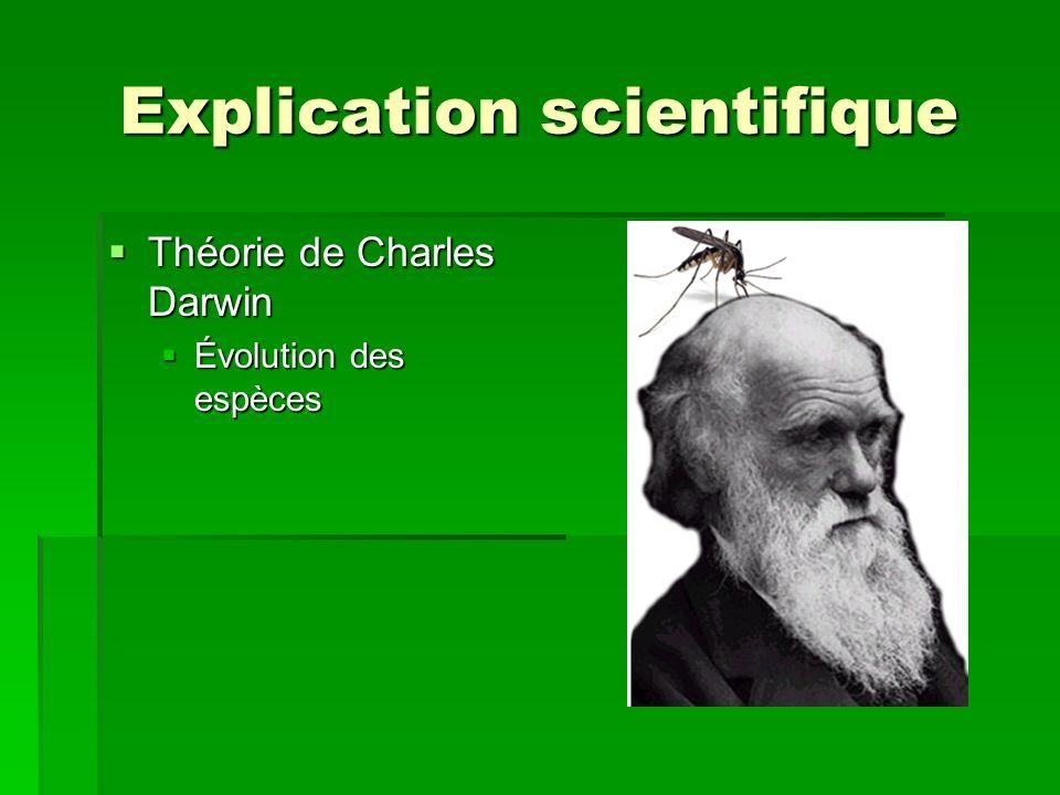 Explication scientifique Théorie de Charles Darwin Théorie de Charles Darwin Évolution des espèces Évolution des espèces