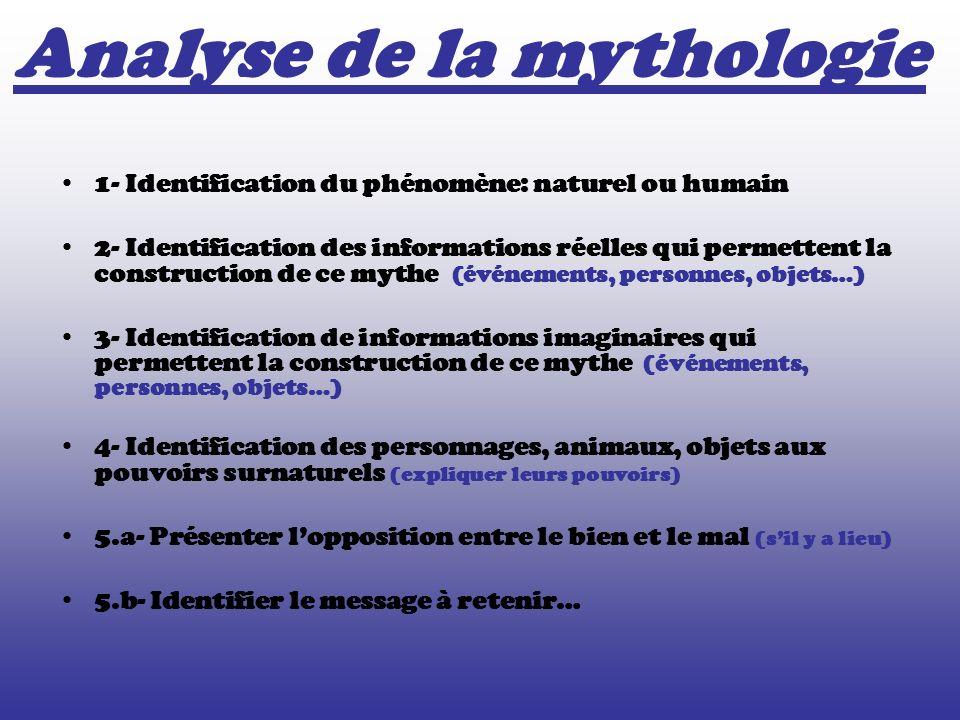 1- Identification du phénomène: naturel ou humain 2- Identification des informations réelles qui permettent la construction de ce mythe (événements, p
