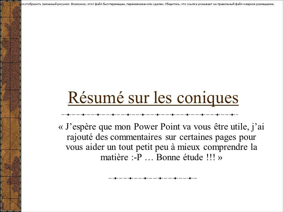 Résumé sur les coniques « Jespère que mon Power Point va vous être utile, jai rajouté des commentaires sur certaines pages pour vous aider un tout pet